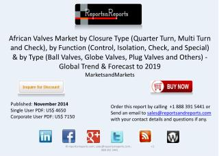 African Valves Industry Trends & Forecasts to 2019