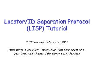 Locator/ID Separation Protocol (LISP) Tutorial