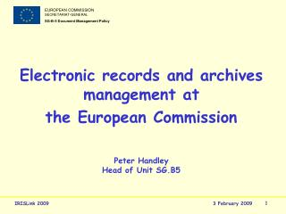 Electronic records and archives management at the European Commission