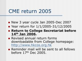 CME return 2005