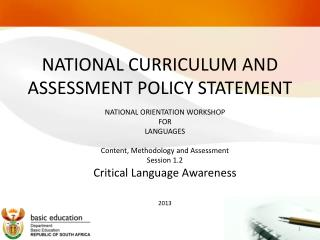 NATIONAL CURRICULUM AND ASSESSMENT POLICY STATEMENT