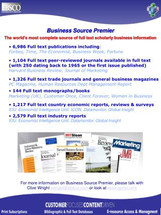 The world�s most complete source of full text scholarly business information