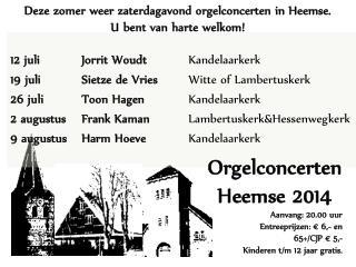 12 juli Jorrit  Woudt Kandelaarkerk  19 juli Sietze  de Vries  Witte of  Lambertuskerk