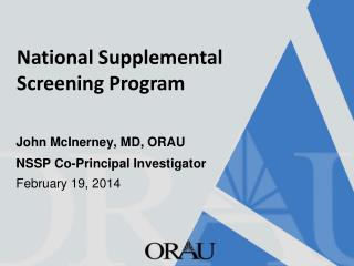 National Supplemental Screening Program