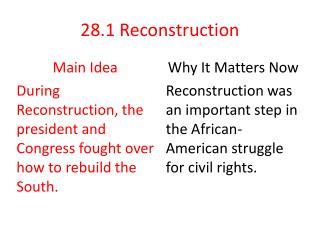 28.1 Reconstruction