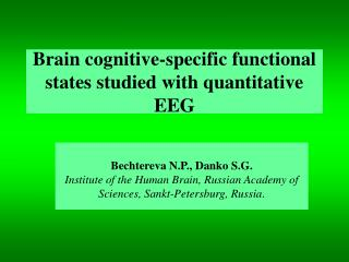 Brain cognitive-specific functional states studied with quantitative EEG