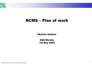RCMS � Plan of work Michele Gulmini DAQ Weekly 7th May 2002