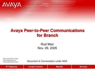 Avaya Peer-to-Peer Communications for Branch