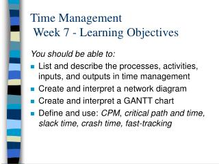 Time Management  Week 7 - Learning Objectives