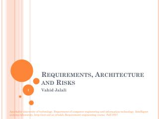 Requirements, Architecture and Risks