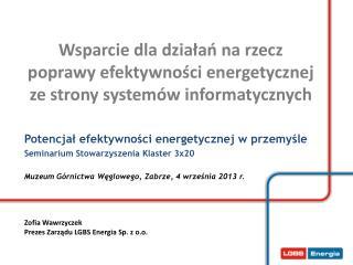 Potencjał efektywności energetycznej w przemyśle Seminarium Stowarzyszenia Klaster 3x20