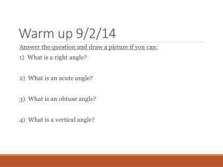 Warm up 9/2/14