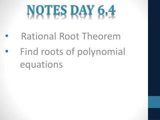 Notes Day 6.4