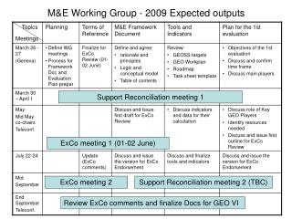 M&E Working Group - 2009 Expected outputs