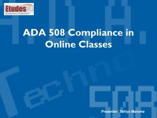 ADA 508 Compliance in Online Classes