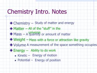 Chemistry Intro. Notes
