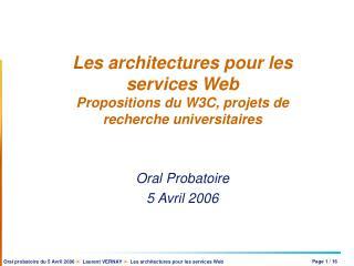 Les architectures pour les services Web Propositions du W3C, projets de recherche universitaires