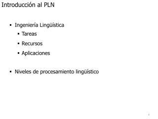 Introducción al PLN