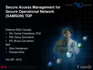 Secure Access Management for Secure  Operational  Network (SAMSON) TDP