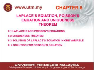 LAPLACE'S EQUATION, POISSON'S EQUATION AND UNIQUENESS THEOREM