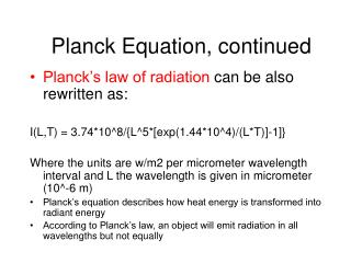 Planck Equation, continued