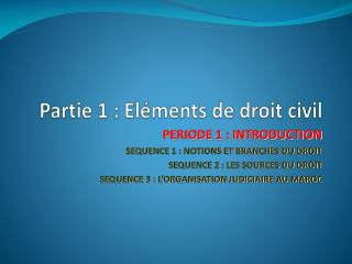 Partie 1 : El�ments de droit civil