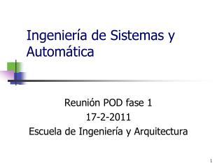 Ingeniería de Sistemas y Automática