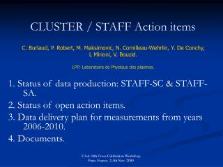 CLUSTER / STAFF Action items