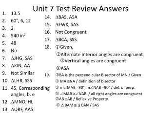 Unit 7  Test Review Answers