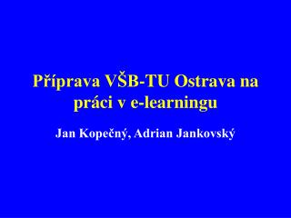 Příprava VŠB-TU Ostrava na práci v e-learningu