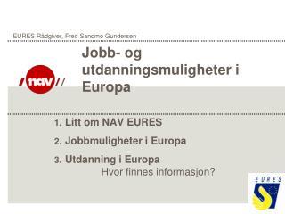Litt om NAV EURES Jobbmuligheter i Europa Utdanning i Europa Hvor finnes informasjon?