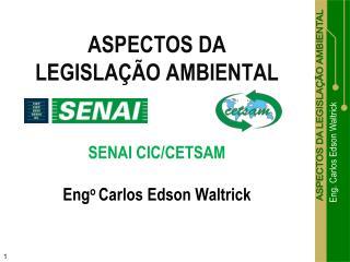 ASPECTOS DA  LEGISLAÇÃO AMBIENTAL SENAI CIC/CETSAM Eng o  Carlos Edson Waltrick