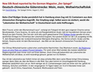 "New Silk Road reported by the German Magazine ""Der Spiegel"""