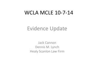 WCLA MCLE 10-7-14
