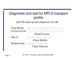 Diagnostic tool-test for MPLS transport profile