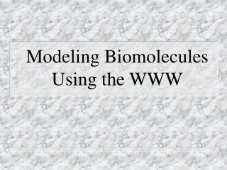 Modeling Biomolecules Using the WWW