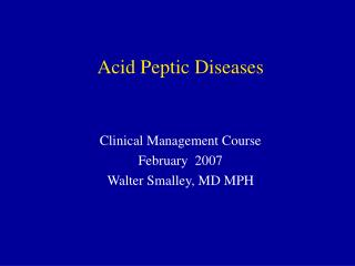Acid Peptic Diseases