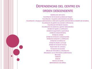 Dependencias del centro en orden descendente