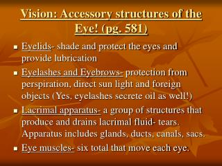 Vision: Accessory structures of the Eye! (pg. 581)