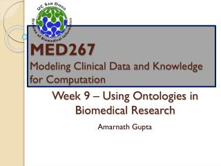 Week 9 – Using Ontologies in Biomedical Research