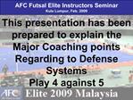 AFC Futsal Elite Instructors Seminar Kula Lumpur, Feb. 2009