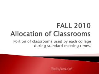 FALL 2010  Allocation of Classrooms