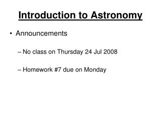 Introduction to Astronomy