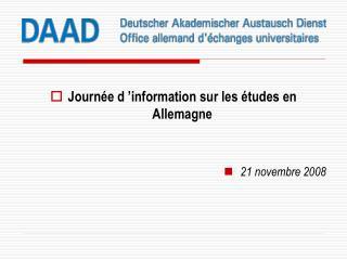 Journée d'information sur les études en Allemagne 21 novembre 2008