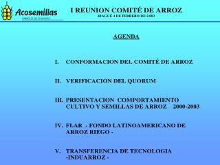 COMPORTAMIENTO DEL CULTIVO Y SEMILLAS DE ARROZ 2000 - 2003