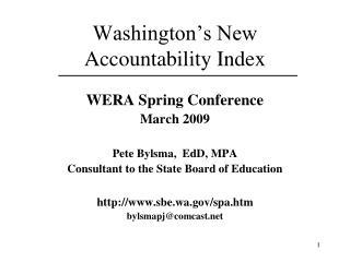 Washington's New Accountability Index