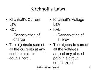 Kirchhoff�s Laws