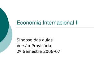 Economia Internacional II