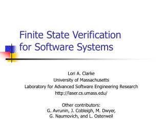 Finite State Verification  for Software Systems