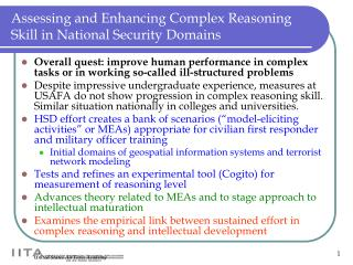 Assessing and Enhancing Complex Reasoning Skill in National Security Domains